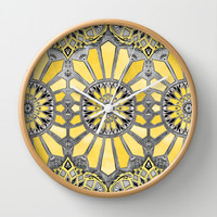 Sunny Yellow Radiant Watercolor Pattern Wall Clock by Micklyn