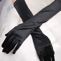 Vintage Women Elegance Solid Color Prom Stretch Halloween Satin Opera Evening Party Long Gloves
