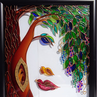 Family tree art Glass painting Wall decor Tree of life painting Landscape painting