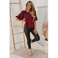 Saturday Social Dotted Top (Burgundy)