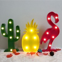 3D LED Flamingo Pineapple Cactus Lamp Romantic Table Lamp Home Christmas Kids' Room Decor Letter Marquee Battery LED Nightlight
