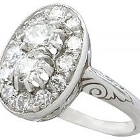 1.26 ct Diamond and 18 ct White Gold, Platinum Set Dress Ring - Vintage Circa 1940