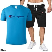 Champion Fashion Men Casual Print Short Sleeve Top Shorts Set Two Piece Sportswear Blue