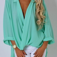 Cleo Mint Cross Over Collar Top | Pink Boutique