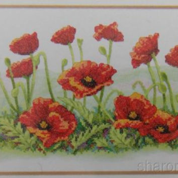 Dimensions Stamped Cross Stitch Field Of Poppies Audrey Roberts 16x10 3237 NEW