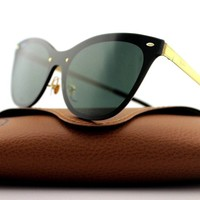NEW Authentic RAY-BAN BLAZE CAT EYE Gold Green Classic Sunglasses RB3580N 043/71