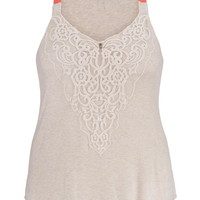 Plus Size - Embroidered Mesh Overlay Swing Tank