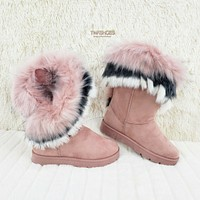 Furry Pink Blush Faux Fur Lined Flat Winter Boots US Women's 7-11 Chi Chi