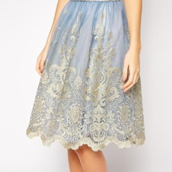 Chi Chi London Premium Metallic Lace Full Midi Skirt