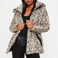 Missguided - Snakeskin Puffer Jacket