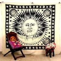 Handicrunch Indian Sun Hippie Hippy Tapestry Wall Hanging Throw Cotton Bed Cover Bohemian Bed Decor Bed Spread Ethnic Decorative Art Table Cloth