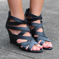 Effy Wedge Sandals {Black}