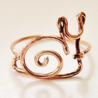 Snail Ring, Copper wire, ring, custom size