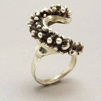 Mid Century Sterling Silver Brutalist Ring