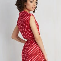 Rockabilly Short Length Short Sleeves Read It and Steep Romper in Red Polka Dot