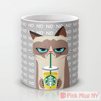 Personalized mug cup designed PinkMugNY - I love Starbucks - Grumpy Cat