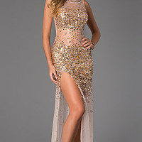 Stunning Sequin Embellished Sheer JVN by Jovani Dress