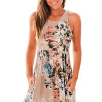Fall In Love With Floral Print Boho Dress In Light Coffee LAVELIQ