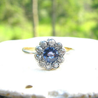 Art Deco Sapphire Diamond Daisy Ring, Lovely Old Cut Gems, Very Elegant and Dainty, Solid 18K Gold