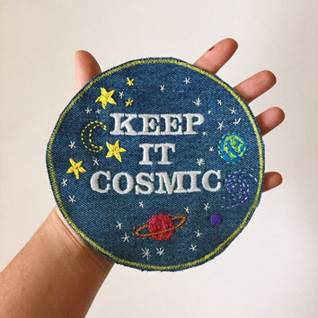 KEEP IT COSMIC Large Embroidered Denim Patch