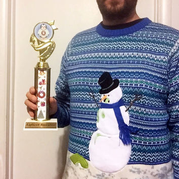 Ugly Christmas Sweater, Award, Christmas Sweater Award, Ugly Sweater Party, Penguin Column Trophy, Christmas Award, Ugly Sweater Contest