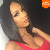 Short Straight Human Hair Bob Wig Cheap Brazilian Glueless Full Lace/Lace Front Human Hair Bob Wigs With Bangs For Black Women