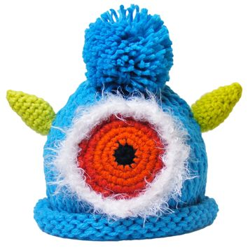 """Crocheted Baby Monster Hat Newborn Knit Cap Turquoise """"Kev"""""""