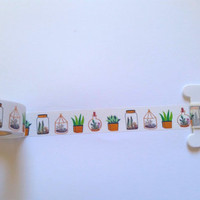 Succulents With Gold Foil Washi Tape // Sample // Item #WT037