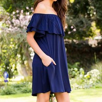 Bliss Off The Shoulder Dress (Navy)