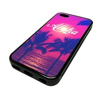 For Apple Iphone 5 or 5s Cute Phone Cases for Girls Aloha Sunset Surf Surfer Hawaii Cali Design Cover Skin Black Rubber Silicone Teen Gift Vintage Hipster Fashion Design Art Print Cell Phone Accessories