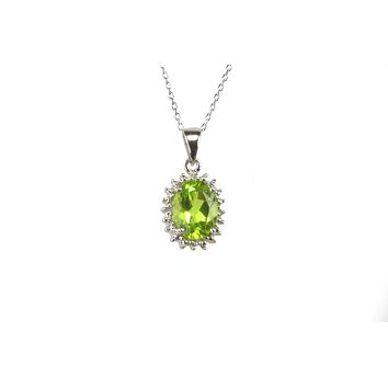 925 Sterling Silver Diamond and Peridot Necklace 16mm Oval 18 Inch Chain