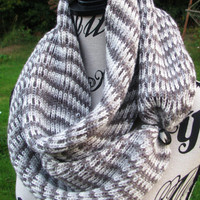 Knit scarf, FREE SHIPPING. Scarf for men. with button, multicolor infinity scarf, open weave. Cowl, loop scarf. unisex, gift. gift for women