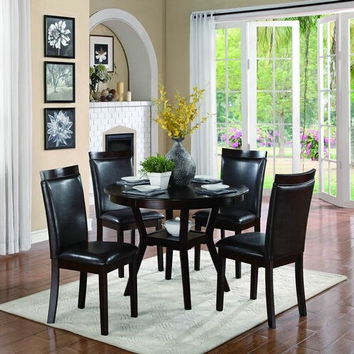 Home Elegance 5104 5 pc shankmen collection espresso finish wood round dining table set with upholstered seats