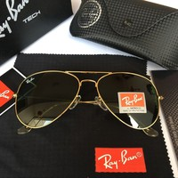 Ray-Ban RB 3025 Aviator 112/4L Matte Gold Green Polarized Sunglasses