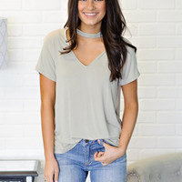 * Trixie V Neck Keyhole Top - Olive
