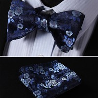 Men's Bow Ties Navy Blue 100% silk Woven Butterfly Self Pocket Square