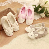 2015 Winter cute little bunny month of shoes, warm slippers, pineapple grain home coral velvet shoes, slippers women