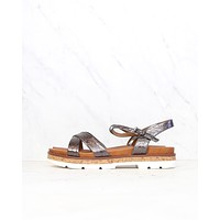 Very Volatile - Petite Ankle Strap Sandals in Pewter