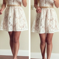 Beautiful Mesh Blush and Ivory Lace Dress