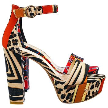 Shocking23 Festive Chunky Block Heel Sandal -Women Open Toe Dressy Platform Shoe