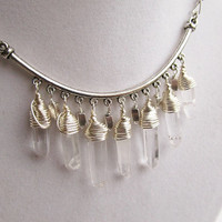 Wire Wrapped Quartz Point & Silver Half Moon Bracket Boho Chic Dangly Silver Bib Necklace