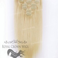 Brazilian 7 Piece Straight Human Hair Weft Clip-In Extensions in #22