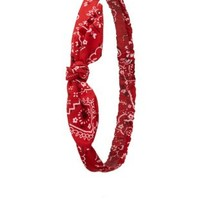 Red Combo Bandanna Print Knotted Bow Head Wrap by Charlotte Russe