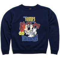 University of Michigan Looney Tunes Taz Twister Touchdown Oasis Sports Crewneck Sweatshirt Navy (Youth Medium)