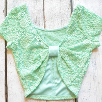 Amarillo Lace Mint Bow Back Crop Top
