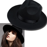 Vintage Women Caps Wide Brim Hat Black Ribbon Warm Wool Blend Felt Hat Womens Caps Wide Brim Hat D0451