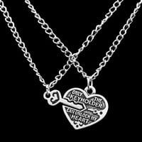 Heart & Key Necklaces 2 pc
