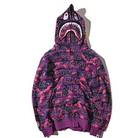 Bape Aape Shark Hoodies Zippers Hats Couple Casual Jacket Purple
