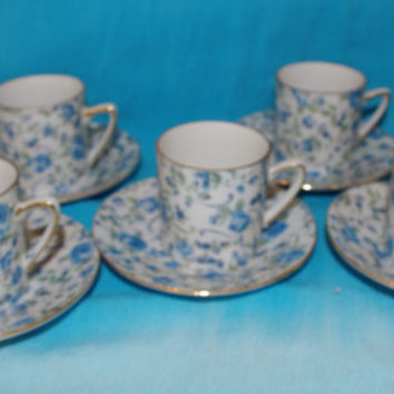 Demitasse Cup and Saucer Sets of Paisley Royal Crown Blue Rose Pattern Japan