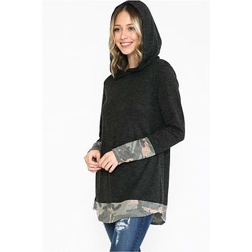 Black Hoodie Top with Camo Contrast